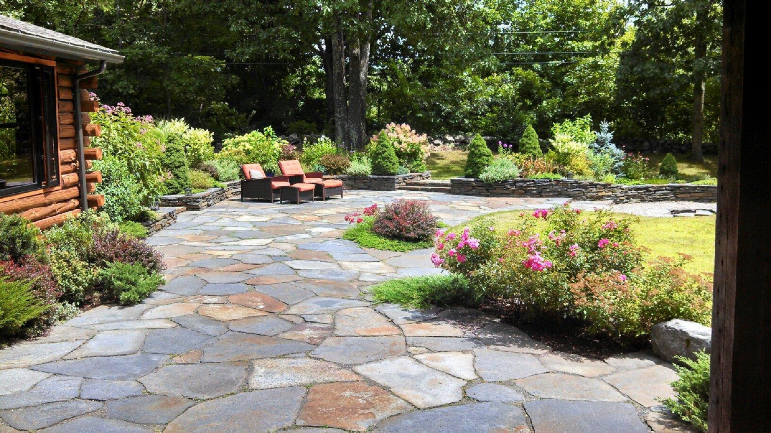 Garden patio patio slabs ebay roger gladwell garden for Garden patio design ideas