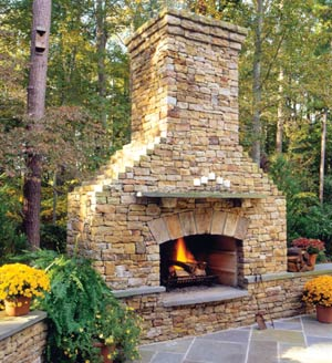 Design guide for outdoor firplaces and firepits garden for Patio fireplace plans